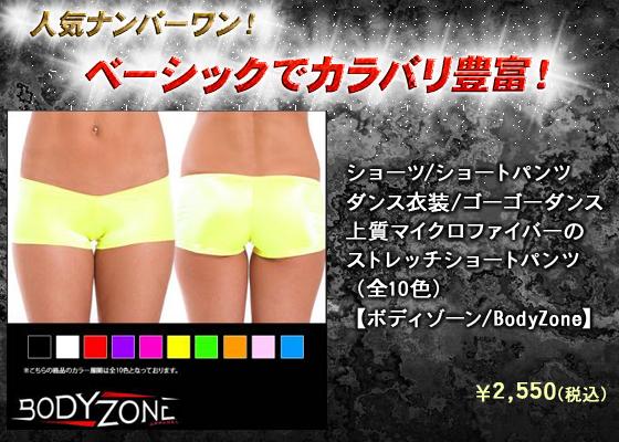 ショーツ/ショートパンツ/ダンス衣装/ゴーゴーダンス/上質マイクロファイバーのストレッチショートパンツ(全10色)【ボディゾーン/BodyZone】